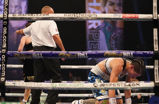 Taylor knocked down Gutierrez at the end of fourth round, following a barrage of punches Photo Credit: Dave Thompson/Matchroom Boxing