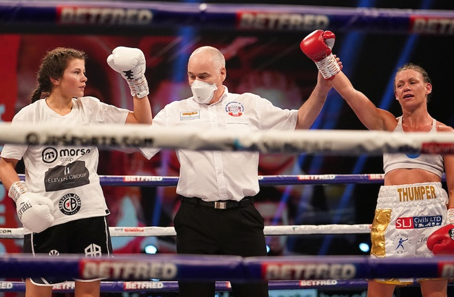Amy Timlin and Carly Skelly were held to a draw in their Commonwealth super bantamweight contest Photo Credit: Dave Thompson/Matchroom Boxing