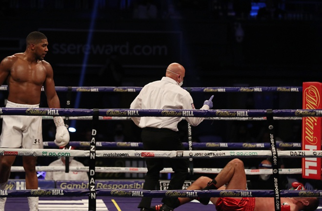 Pulev was stopped in the ninth round with a huge right hand from Joshua Photo Credit: Mark Robinson/Matchroom Boxing