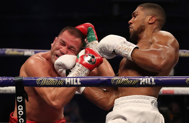 Joshua's uppercut proved a crucial weapon as he pounded Pulev Photo Credit: Mark Robinson/Matchroom Boxing