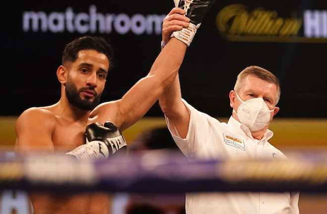 Qais Ashfaq returned to winning ways with a fourth round stoppage over Ashley Lane Photo Credit: Dave Thompson/Matchroom Boxing