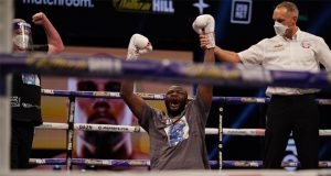 Martin Bakole could not contain his delight after beating Sergey Kuzmin Photo Credit: Dave Thompson/Matchroom Boxing