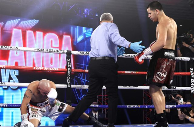 Edgar Berlanga claimed a 16th straight first round knockout Photo Credit: Mikey Williams/Top Rank via Getty Images