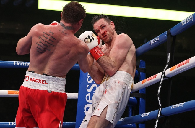 Smith battled to the final bell despite a punishing Canelo display Photo Credit: Ed Mulholland/Matchroom Boxing