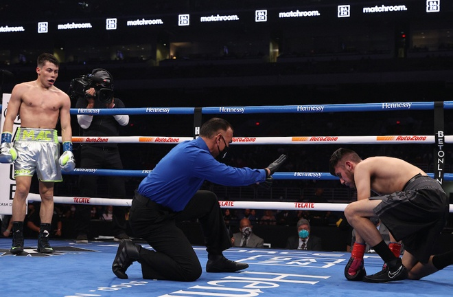 Marc Castro secured a stoppage win on his debut Photo Credit: Ed Mulholland/Matchroom Boxing