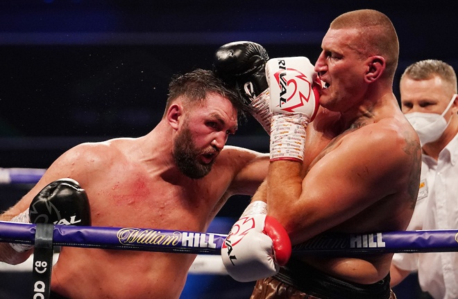 Hughie Fury saw off Mariusz Wach despite suffering a gruesome cut early on Photo Credit: Dave Thompson/Matchroom Boxing