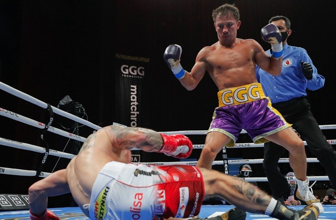 Golovkin knocked Szeremeta down four times before the fight was waved off at the end of the seventh round Photo Credit: Melina Pizano/Matchroom Boxing