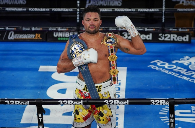 Joe Joyce was crowned British, Commonwealth and European heavyweight champion after a stunning tenth round stoppage win over Daniel Dubois Photo Credit: Round 'N' Bout Media/Queensberry Promotions