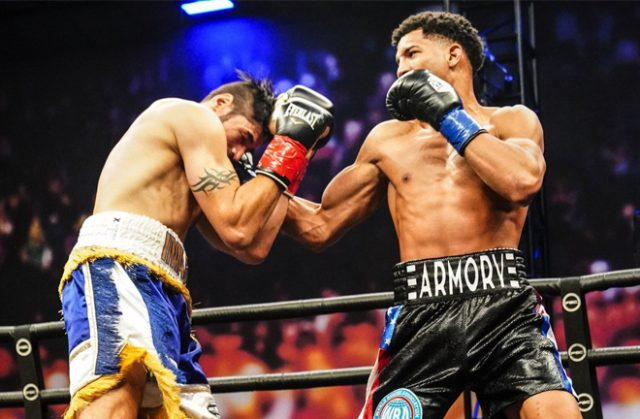 David Morrell Jr defended his WBA Interim Super Middleweight title with a dominant third round win over Mike Gavronski in Los Angeles on Saturday Photo Credit: Sean M Ham/TGB Promotions