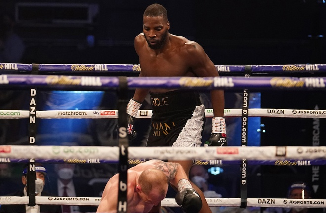 Lawrence Okolie was at his brutal best in taking out Nikodem Jezewski in two rounds Photo Credit: Dave Thompson/Matchroom Boxing