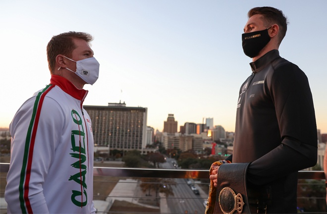 Smith towered over Canelo when the pair came face-to-face for the first time on Tuesday Photo Credit: Ed Mulholland/Matchroom Boxing