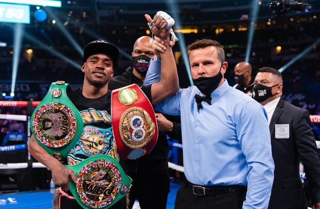 Errol Spence Jr defended his unified WBC and IBF Welterweight titles with a unanimous decision victory over Danny Garcia at the AT & T Stadium, Texas Photo Credit: Ryan Hafey/Premier Boxing Champions