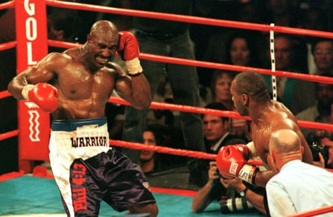 Tyson was infamously disqualified for biting a part of Holyfield's ear off in their rematch Photo Credit: Reuters