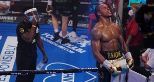 Yarde celebrates after halting Dec Spelman Photo Credit: Round 'N' Bout Media/Queensberry Promotions