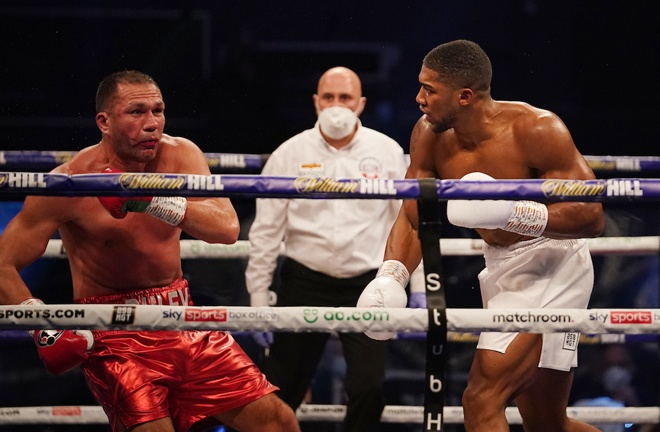 Joshua stopped IBF mandatory challenger Kubrat Pulev in December Photo Credit: Dave Thompson/Matchroom Boxing