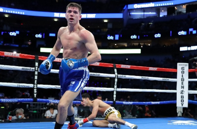 Campbell floored Garcia with a flush left hook in the second round Photo Credit: Tom Hogan-Hogan Photos/Golden Boy