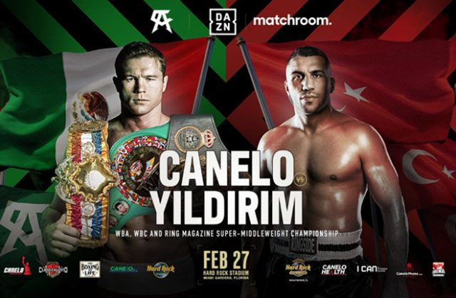 Canelo Alvarez defends his unified Super Middleweight titles against Avni Yildirim on February 27 in Miami Photo Credit: Matchroom Boxing