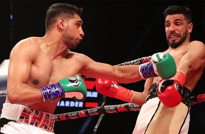 Khan stopped Billy Dib in his last fight in Saudi Arabia in July 2019 Photo Credit: Dave Pinegar/Maynard Comms