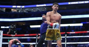 Ryan Garcia climbed off the canvas to stop Luke Campbell with a vicious body shot in Dallas on Saturday night Photo Credit: Tom Hogan-Hogan Photos/Golden Boy