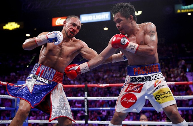 Pacquiao beat Keith Thurman in his last fight by split decision Photo Credit: John Locher / Associated Press