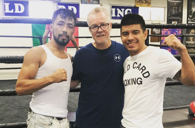 Khademi training alongside Freddie Roach at the famous Wild Card Gym in California Photo Credit: Instagram @kaisykhademi