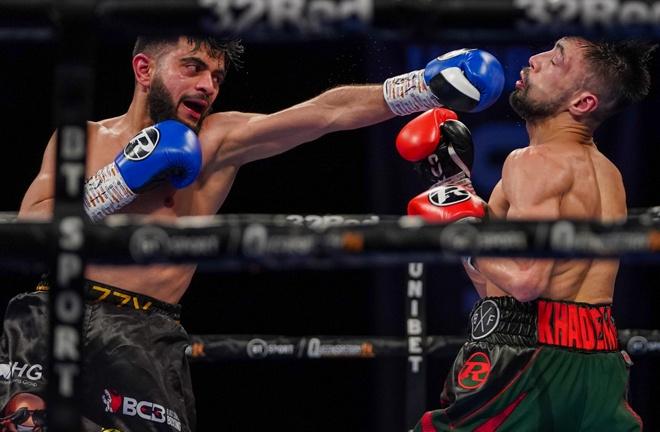It was a fiercely-contested battle between Ahmed and Khademi Photo Credit: Round 'N' Bout Media/Queensberry Promotions