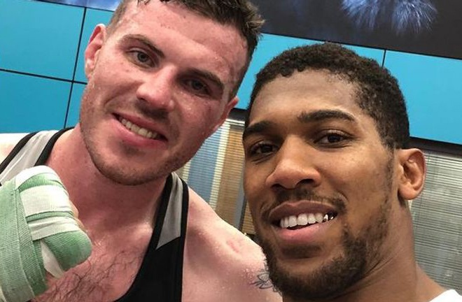 Campbell alongside unified Heavyweight world champion, Anthony Joshua in Sheffield Photo Credit: @nickcampbell1 Instagram