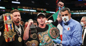 Canelo Alvarez comfortably retained his Super Middleweight world titles with a third round stoppage of Avni Yildirim in Miami on Saturday Photo Credit: Ed Mulholland/Matchroom