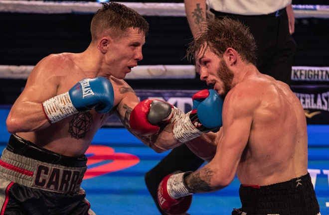 Danny Carr retained his Southern Area Super Featherweight title with victory over Dean Dodge Photo Credit: Scott Rawsthorne / MTK Global