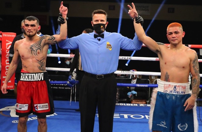 Diaz and Rakhimov after their draw in California Photo Credit: Tom Hogan-HoganPhotos/Golden Boy Promotions