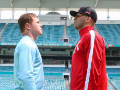 Canelo Alvarez and Avni Yildirim came face-to-face on Monday ahead of their Super Middleweight world title clash in Miami on Saturday Photo Credit: Ed Mulholland/Matchroom