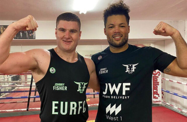 Johnny Fisher sparring with managerial stablemate, Joe Joyce ahead of his debut Photo Credit: S-JAM Boxing