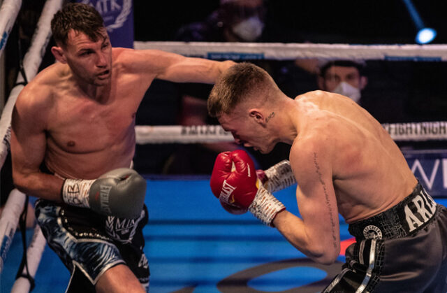 Gavin Gwynne scored a seventh round stoppage over Sean McComb to become Commonwealth Lightweight champion on Friday Photo Credit: Scott Rawsthorne / MTK Global