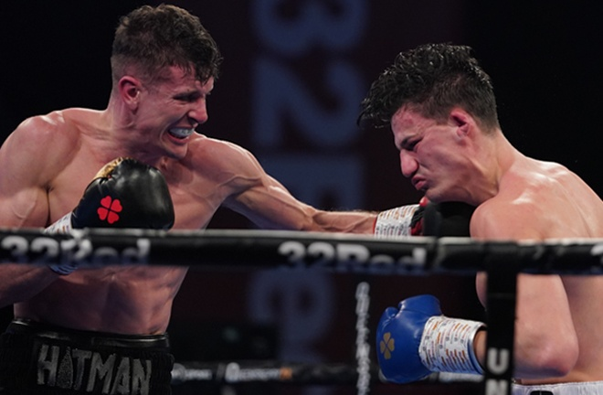 Nathan Heaney knocked down Ryan Oliver on route to a points win Photo Credit: Round 'N' Bout Media/Queensberry Promotions