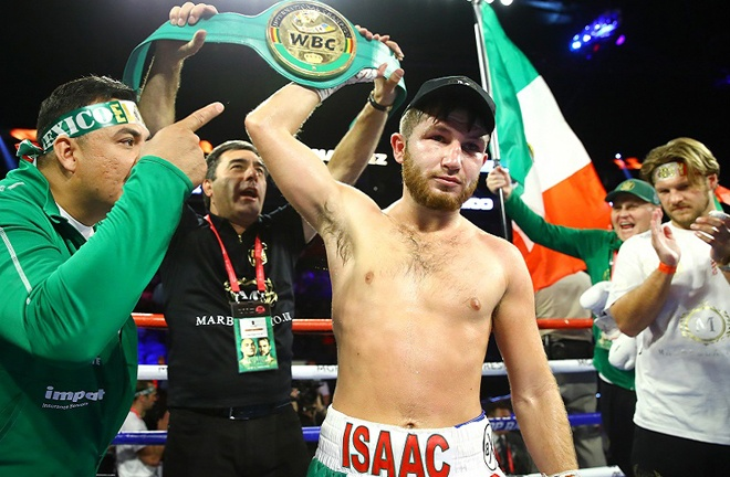 Isaac Lowe holds the WBC International Featherweight title Photo Credit: Mikey Williams/Top Rank