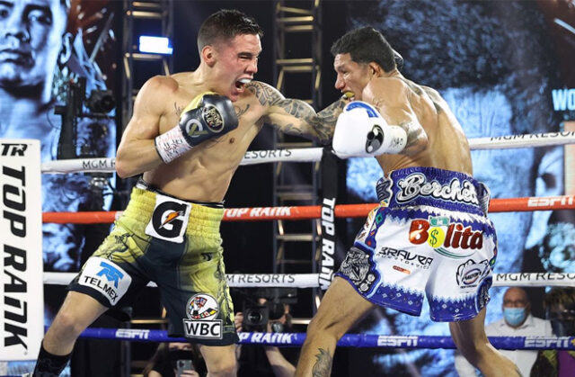 Oscar Valdez landed a knockout of the year contender against Miguel Berchelt to become WBC Super Featherweight world champion Photo Credit: Mikey Williams/Top Rank via Getty Images