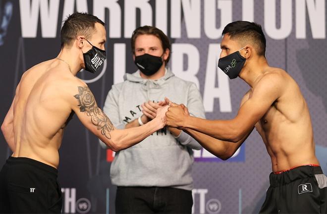 Josh Warrington and Mauricio Lara embrace ahead of their main event clash Photo Credit: Mark Robinson/Matchroom Boxing