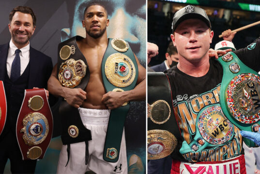 Eddie Hearn says he can see similarities between Anthony Joshua and Canelo Alvarez Photo Credit: Mark Robinson/Ed Mulholland/Matchroom Boxing