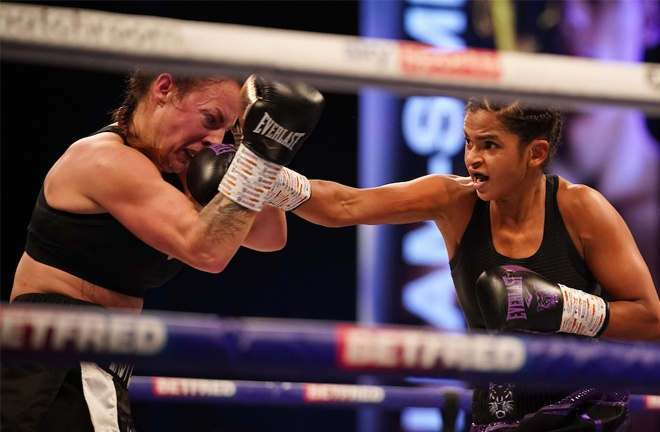 Ramla Ali dominated her clash with Bec Connolly Photo Credit: Dave Thompson/Matchroom Boxing