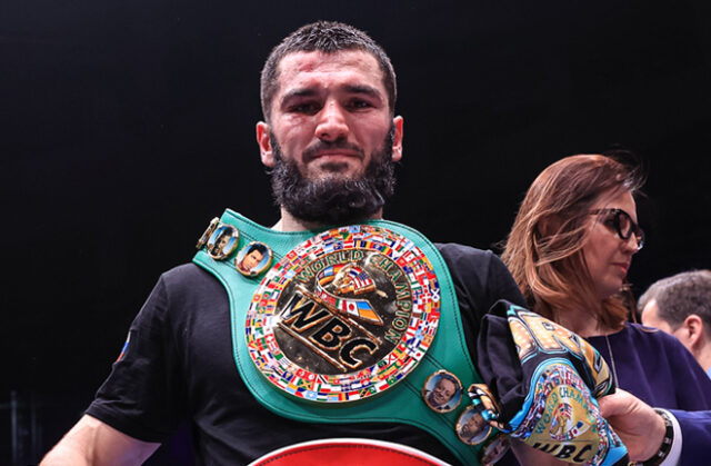 Artur Beterbiev retained his WBC and IBF Light Heavyweight titles with a tenth round stoppage of Adam Deines in Moscow Photo Credit: Top Rank