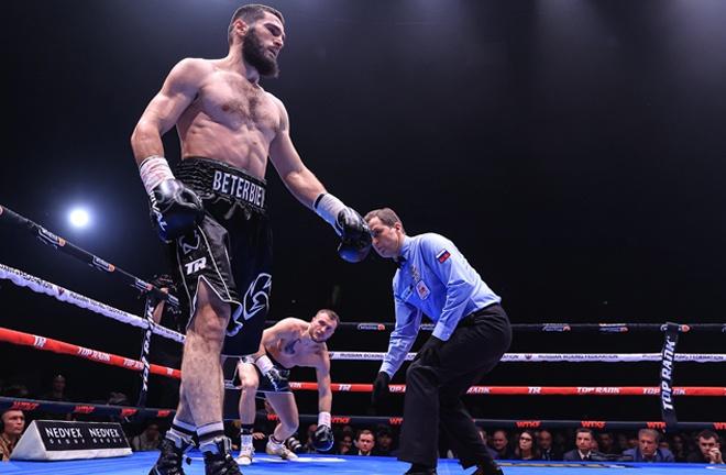 Beterbiev floored Deines in the opening round Photo Credit: Top Rank