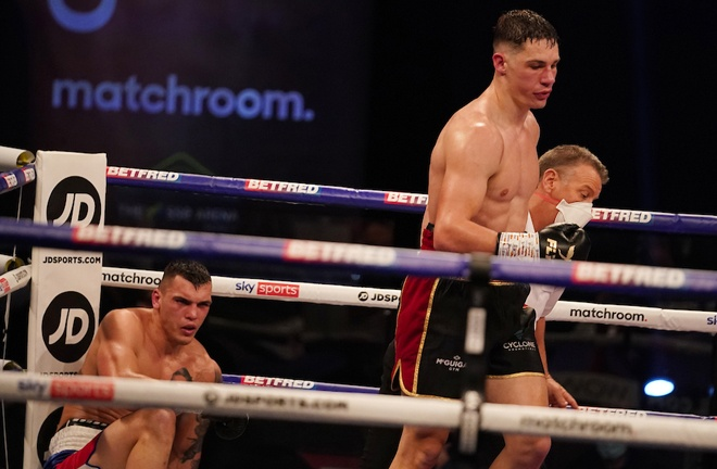 Chris Billam-Smith dropped Vasil Ducar twice on route to claiming the WBA Continental Cruiserweight title Photo Credit: Dave Thompson/Matchroom Boxing