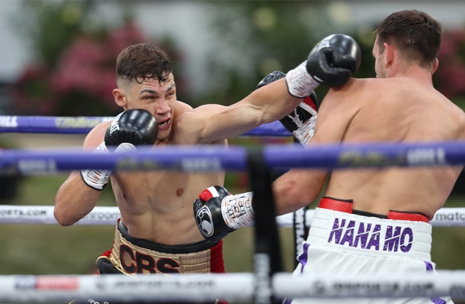 Chris Billam-Smith halted Nathan Thorley inside two rounds at Fight Camp Photo Credit: Mark Robinson/Matchroom Boxing