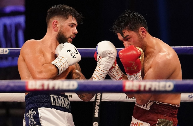 Joe Cordina overcame Faroukh Kourbanov after more than 15 months out of the ring Photo Credit: Dave Thompson/Matchroom Boxing