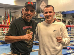 Andreas Katzourakis alongside trainer Abel Sanchez Photo Credit: Team Katzourakis