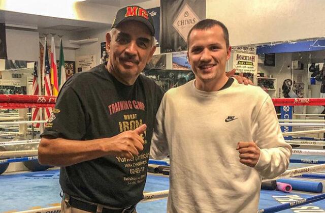 Andreas Katzourakis alongside trainer Abel Sanchez Photo Credit: Team Katzourakis