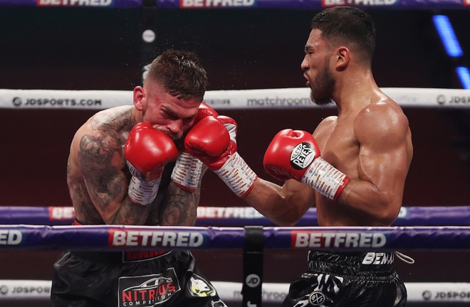 Youssef Khoumari was too strong for Kane Baker in the night's opener Photo Credit: Mark Robinson/Matchroom Boxing