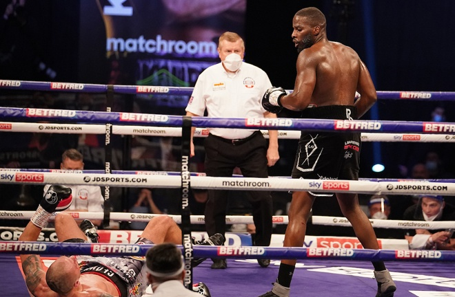 Okolie dropped Glowacki in the sixth and the former champion failed to beat the count Photo Credit: Dave Thompson/Matchroom Boxing