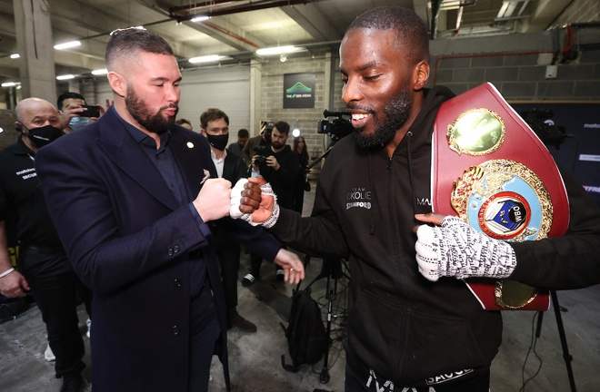 Okolie embraces with former Cruiserweight world champion Tony Bellew Photo Credit: Mark Robinson/Matchroom Boxing