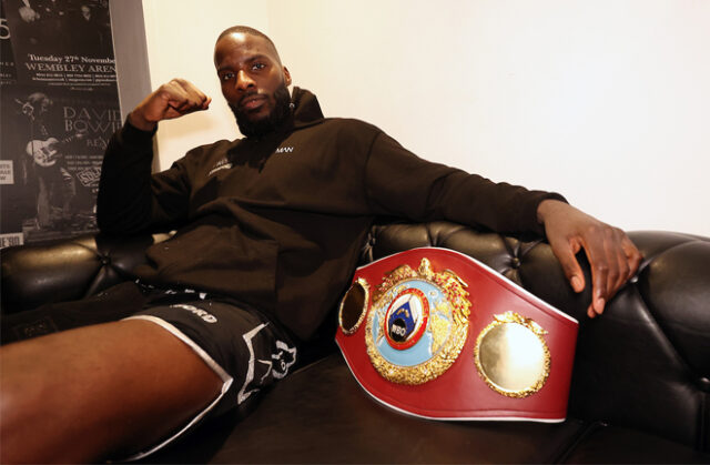 Lawrence Okolie became WBO cruiserweight world champion with a sixth round stoppage of Krzysztof Glowacki on Saturday Photo Credit: Mark Robinson/Matchroom Boxing